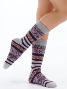 Womens Stripe Crew Socks Cashmere Virgin Wool Blend 4 Colors Available Great Gift Item Color:: Plum Cashmere Int. $13.95
