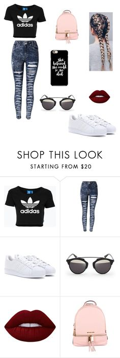 """""""untitled#13"""" by brunalara ❤ liked on Polyvore featuring adidas Originals, adidas, D-ID, Lime Crime and MICHAEL Michael Kors"""