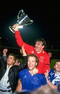 Andy Gray (centre low) of Everton and Neville Southall (centre high) the Everton goalkeeper celebrate amongst supporters after their victory. Everton won the match Mandatory Credit: David Cannon/Allsport Football Program, Football Cards, Football Players, Everton Fc, European Cup, Retro Football, Match 3, Goalkeeper, Liverpool Fc