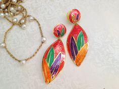 Vintage Abstract Colorful Dangle Earrings. Edgar Berebi. Metal Jewelry. Rainbow. Summer. Enamel. Large Earrings. Statement. 1980s. Fun.