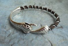 Homemade brown leather bracelet / by JHFWBeadsAndFindings on Etsy