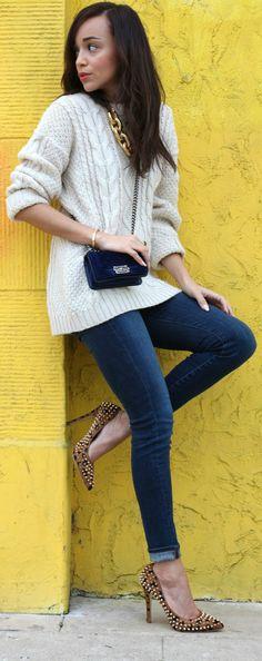 Chunky knit, jeans & killer heels