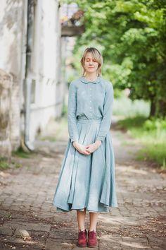 Linen Skirt, Turquoise Blue, Women Fashion, Hand Made Skirt, Women Clothing, Maxi Skirt