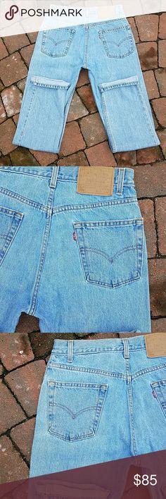 "Levi's 505 vintage high waisted jeans Labeled 31x32 but hand measure smaller. Waist 29"", inseam 31.5"", rise 11 "" 100 % cotton, boyfriend look Levi's Jeans"