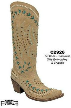 Corral Bone Turquoise Side Embroidery and Crystals C2926 Manufacturers Image