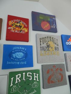 Quick and easy dorm decor: old t-shirts wrapped around canvases. Cut a little bigger than the canvas, wrap, and staple!