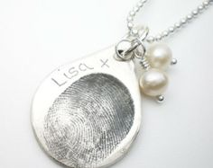 Sterling silver custom double thumbprints pendant or charm heart diy fingerprint necklace google search solutioingenieria Gallery