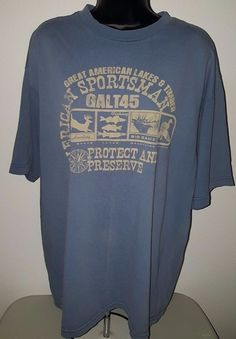 "Men's Brown/Blue ""Great American Lakes & Timber Sportsman......."" T-Shirt Size L #Unknown #GraphicTee"
