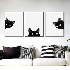 Adorable black cat wall art. Triptych it's so cute!
