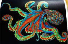 Octopus 1 Wendy P. Octopus Box, Octopus Print, Adult Coloring, Coloring Books, Coloring Pages, Octopus Colors, Fish Quilt, Colorful Paintings, Fish Art