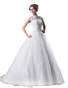 JOLLY BRIDAL Tulle Lace Beading Sleeveless Wedding Dress, White, Size 26W JOLLY BRIDAL http://smile.amazon.com/dp/B00IPGIQTI/ref=cm_sw_r_pi_dp_VB8Hub10WYVCX