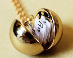 Secret Message Locket Matte Gold Vintage Ball by DearestMine