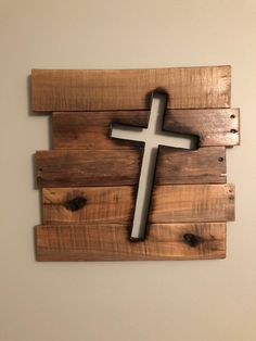 Items similar to Rustic Wooden Cross Sign Distressed Christian Religious Biblical Wall Art on Etsy Wooden Pallet Projects, Woodworking Projects Diy, Popular Woodworking, Woodworking Furniture, Wooden Pallets, Woodworking Tools, Small Wooden Projects, Wood Projects That Sell, Woodworking Patterns