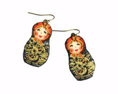 Petite #matryoshka earrings  black and red with by MaBelleEpoque, 25.00  #russian #doll #babushka #jewelry