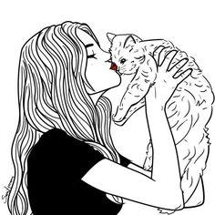 Gato. Ilustración © Sara Herranz. Señala encima de la imagen para verla más grande.