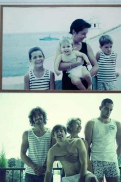 Who doesn't love old pictures? Recreation of old pictures is an amazing way to memorize past. It is really a good fun when you recreate a picture taken long ago. Here we have some recreation of family photos. Old Pictures, Old Photos, Cute Pictures, Funny Photos, Funny Images, Father Birthday Presents, 70th Birthday, Feliz Gif, Old Family Photos