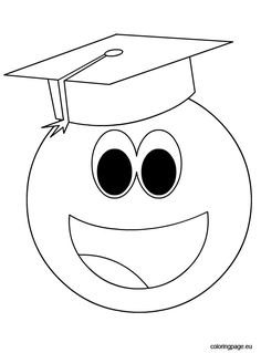 Smiley face with graduation cap Graduation Crafts, Preschool Graduation, Embroidery Applique, Embroidery Patterns, Bullet Journal Month Cover, Flower Crafts Kids, Spongebob Drawings, Preschool Writing, String Art Patterns