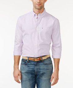TOMMY HILFIGER Tommy Hilfiger Big and Tall Men's Long-Sleeve Twain Check Shirt. #tommyhilfiger #cloth #down shirts
