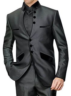 Ultimate Look Dark Grey Indian Men's Tuxedo Suit Mens Tuxedo Suits, Grey Tuxedo, Tuxedo For Men, Tuxedo Wedding, Wedding Suits, Wedding Tuxedos, Look Dark, Gq Style, Tailored Suits
