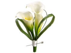 Boutonniere - Mini's - whiteCalla Lilly boutonniere with Periwinkle ribbon...must be smaller flower