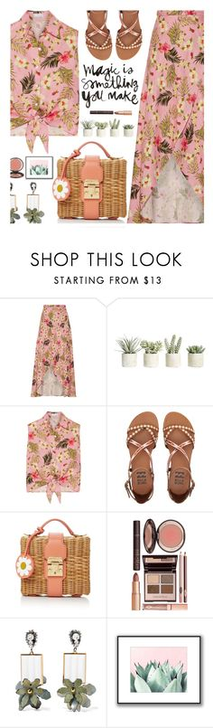 """Magic is something you make."" by hamaly ❤ liked on Polyvore featuring Miguelina, Allstate Floral, Billabong, Mark Cross, Charlotte Tilbury, Marni, outfit, ootd, bag and trends"