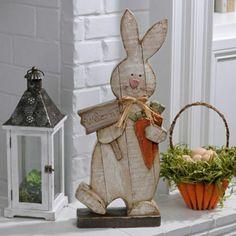 Kirkland's- Kirkland's Distressed Wooden Bunny Statue Spring Projects, Easter Projects, Spring Crafts, Easter Crafts, Holiday Crafts, Holiday Decor, Easter Ideas, Diy Osterschmuck, Wooden Rabbit