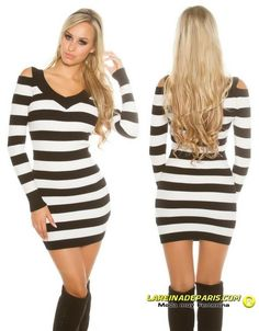 b639dd951 Comprar Vestido de punto rayas blanco y negro online Vestidos de punto