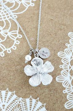 Personalised Initial letter Silver sakura flower Necklace