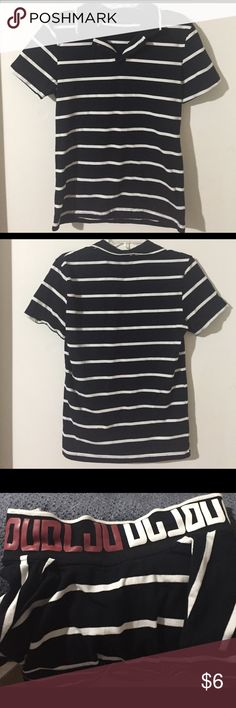 Men's Black/White Striped Polo Black and white striped polo with letters on the underside of the collar. Size small. Lightly used, still in excellent condition. 95% cotton, 5% spandex. Dablju by Jiniy Shirts Polos