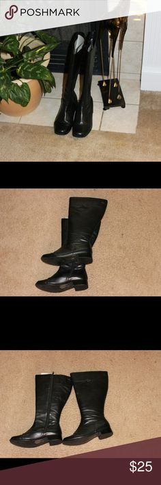 Black Riding Boots Black patent leather side zip riding boots. These boots are easy on and off with wide calf. They have about an 1/2 inch heel barely worn looks like new. Very easy to clean and waiting for you. Shoes
