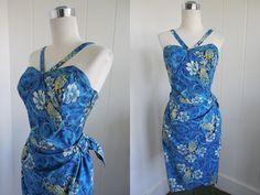 1950's Vintage Blue Hawaiian Reverse Halter by vintagebluemoon, $375.00