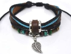 Fashion Hand Jewelry Bracelet Bangle Made Of Leather Ropes with Beads Leaf Pendant Cuff Bracelet Adjustable b204