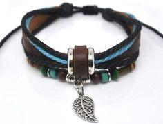 Fashion Hand Jewelry Bracelet Bangle Made Of Leather Ropes with Beads Leaf Pendant Cuff Bracelet Adjustable b204