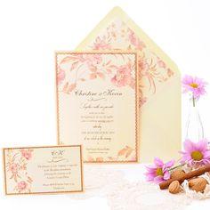 Invitación de boda romántica con acuarela delicada de flores en tonos rosas. Danubio www.azulsahara.com