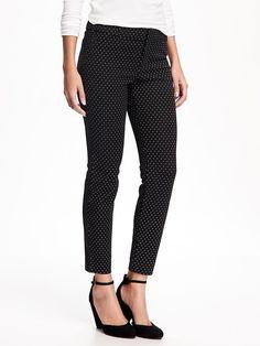 black ankle pants with subtle white diamond print