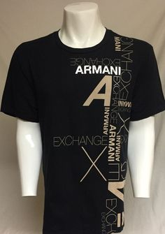 Armani Exchange Black X-Large Short Sleeve Tee T-Shirt XL #ArmaniExchange #GraphicTee