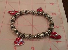 Vintage bracelet silver tone beads, red hat with purple ribbon