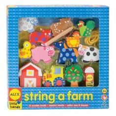 This fun Alex String a Farm kit lets kids string big chunky wooden farm animal pieces together. This set includes 12 wooden beads, wooden needle, cotton lace and stopper. Stringing beads improves a child's fine motor skills and manual dexterity.    Recommended Ages: 3+ years old. $14.99