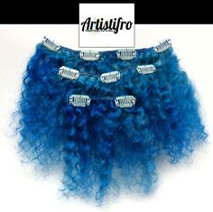 Blue kinky clip in hair. Dyed afro hair. An easy clip in option for adding a pop of color to your curls. Finally a non damaging color option for women with kinky, natural hair!