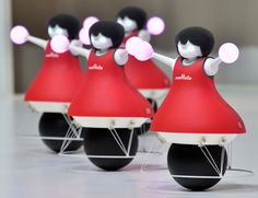 Japan's electronic parts maker Murata Manufacturing displays a formation dance of small robots, known as the 'Murata Cheerleaders,' as they perform at the Ceatec electronics trade show in Chiba, suburban Tokyo