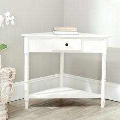 Wooden Console Table Cream Triangular Drawer Pine Wood Hallway Office Furniture