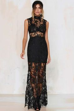 Lace-Up Your Life Sheer Dress - Black د.إ323.22