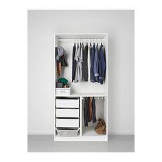 PAX Garderobeskap, hvit, Tanem hvit 100x60x201 cm hengsler med dørdemper