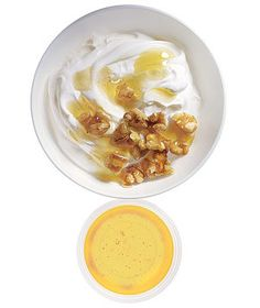 Low-fat Greek yogurt with chopped walnuts and honey. | They're under 200 calories, healthy, satisfying, and pro-approved―what's not to love?