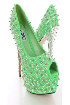 f056774086c Green Rhinestone Spike Studded Platform Shoes Heels