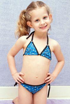 Bandana Girl Bikini - Lemons & Limes Kids Swimwear #bandana #girlbikini #kids #blue #navy #kidsswim