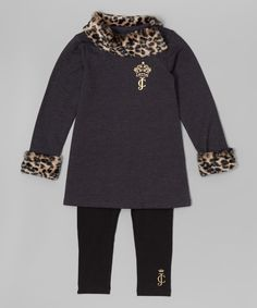 Look at this Black Leopard Trim Dress & Leggings - Infant, Toddler & Girls on #zulily today!