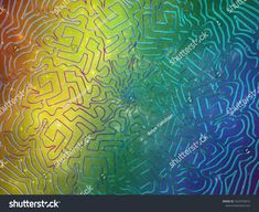 Labyrinth mandala with elements of space and a spectral gradient on the background. Mandala, Space, Abstract, Illustration, Artwork, Floor Space, Summary, Work Of Art, Auguste Rodin Artwork