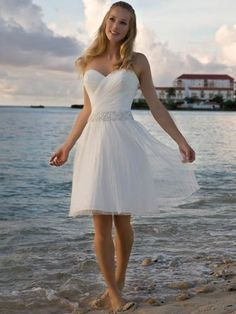 Sweetheart Cocktail Length A-line Tulle Wedding Dress $108.61