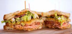 Grilled Salmon  Club Sandwich